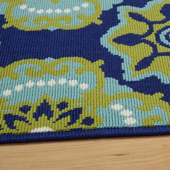 Dark Blue/Green Medallion All-Weather Area Rug view 2
