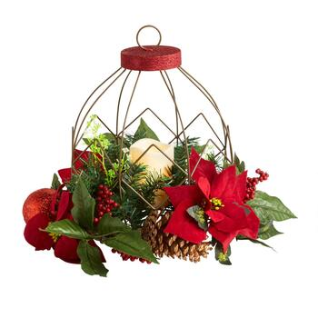 Christmas Greenery Ornament LED Candle Centerpiece