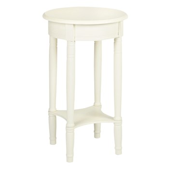 Cream Finish Round Accent Table