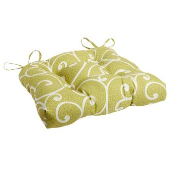 Green Scroll Indoor/Outdoor Single-U Seat Pad
