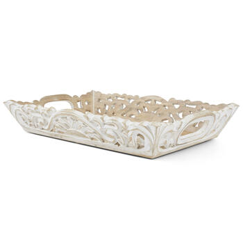Petal and Stone™ White Wood Tray view 2