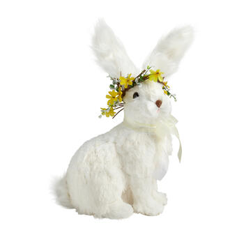 "11.5"" White Bunny with Flower Crown view 1"