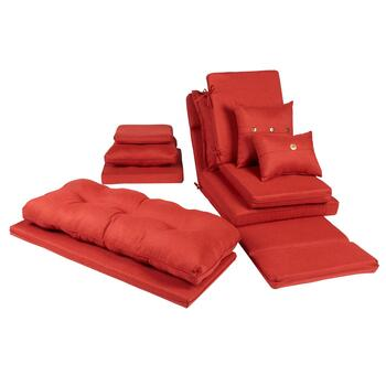 Solid Red Woven Indoor/Outdoor Chair Pads Collection