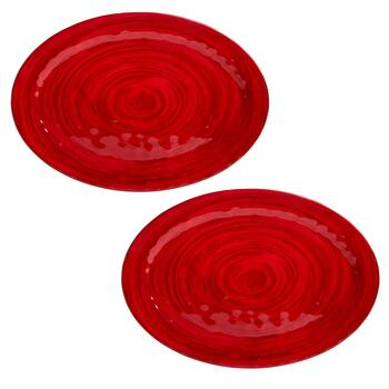 "20"" Solid Swirl Oval Melamine Serving Platters, Set of 2"