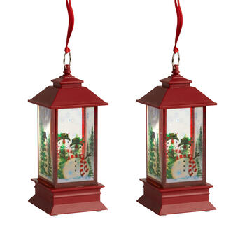 "7"" Red Glitter Snowman LED Lanterns, Set of 2 view 1"