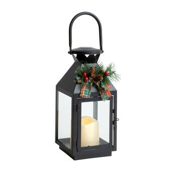 "11"" LED Christmas Lantern with Pinecone and Berries"