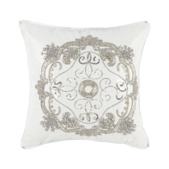 Silver Embellished Medallion Square Throw Pillow