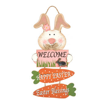 "22.25"" ""Welcome"" Directional Wood Bunny Sign view 1"