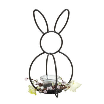"10"" Bunny-Shaped Metal Candle Holder with Beaded Branches view 1"
