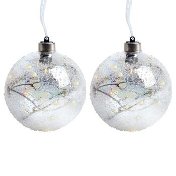 "5"" Snowy Twigs LED Globe Ornaments, Set of 2"