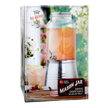 1.5-Gallon Mason Jar Beverage Dispenser with Ice Bucket Stand view 2