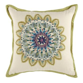Embroidered Medallion Square Throw Pillow
