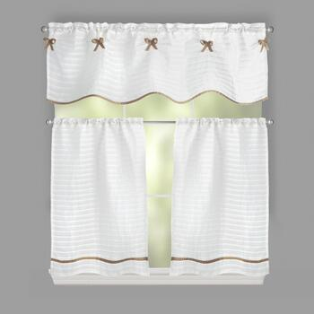 "36"" Bows and Stripes Window Tier & Valance Set"