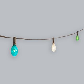 20' Multicolored Glass Bulb String Lights