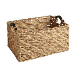 Water Hyacinth Wood Handle Rectangular Woven Basket