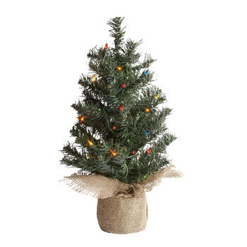 18 Multi Pre Lit Burlap Bottom Mini Christmas Tree View 1