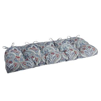 Paisley Blue Indoor/Outdoor Double-U Bench Seat Pad