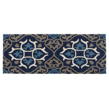 Blue Medallion Hand-Hooked All-Weather Rug