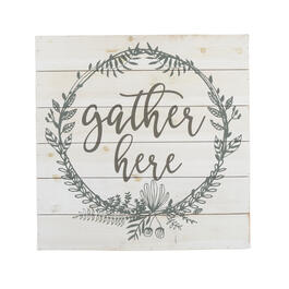 "24"" ""Gather Here"" White Square Wood Wall Decor view 1"