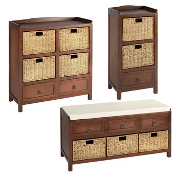 Carlow Walnut Basket Storage Furniture Collection