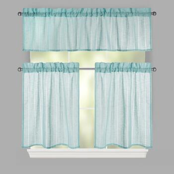 Solid Hemstitch Window Tier & Valance Set