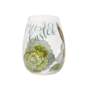 Green Floral Bunny Stemless Wine Glasses, Set of 4 view 2