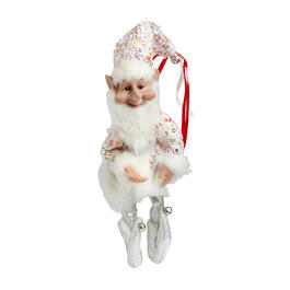 "14"" White/Silver Sequin Elf Poseable Ornament view 1"