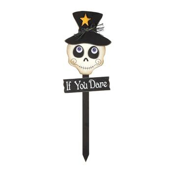 "36"" ""If You Dare"" Skull Wood Garden Stake"
