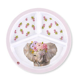 Kids Elephant Floral 3 Section Plate view 1
