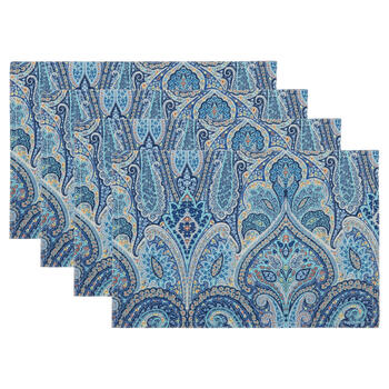 Waverly® Blue/Yellow Paisley Fabric Placemats, Set of 4 view 1