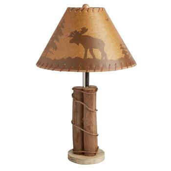 "22"" Lodge Moose and Logs Table Lamp"