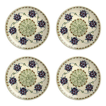 Polish Pottery Flower Vine Handcrafted Salad Plates, Set of 4 view 1