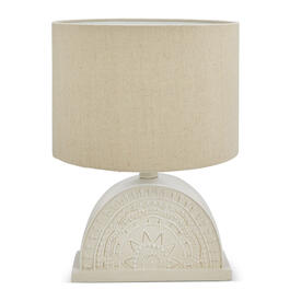 "Petal and Stone™  14"" Carved Moon Natural Table Lamp view 1"