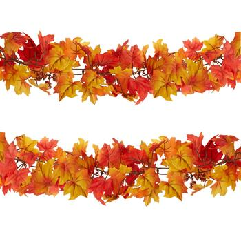 6' Orange Chain Leaf Fall Garlands, Set of 2