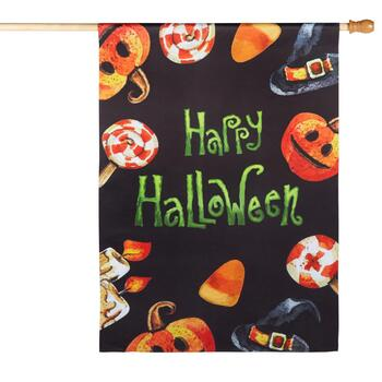 "28""x40"" Sueded ""Happy Halloween"" Candy Corn Yard Flag"