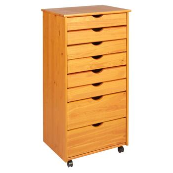 8-Drawer Wooden Rolling Cabinet