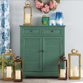 Louvered Cabinets & Candle Lanterns