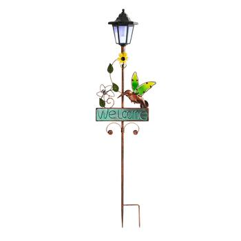 "36"" Yellow Flower Hummingbird Solar Stake"