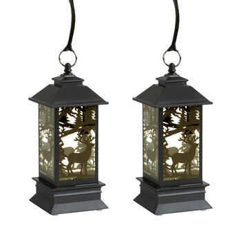 "7"" Forest Reindeer LED Lanterns, Set of 2 view 1"