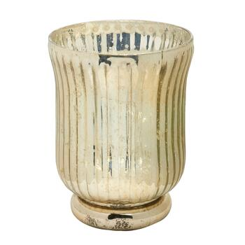 "7"" Mercury Glass Pedestal Candle Holder"