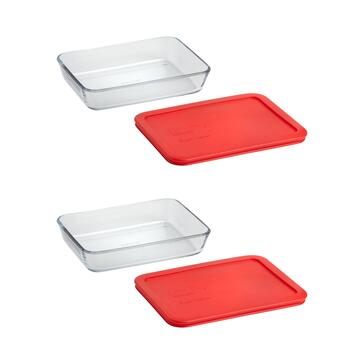 Pyrex® 3-Cup Rectangular Glass Storage Containers, Set of 2