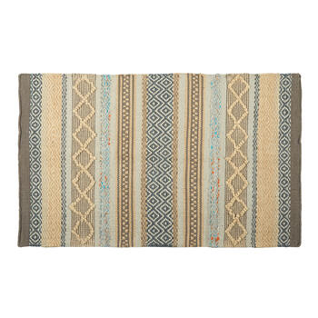"27""x45"" Cream/Blue Diamond Stripes Handwoven Dhurrie Accent Rug view 1"