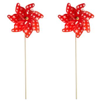"43"" Red/White Star Garden Pinwheels, Set of 2"