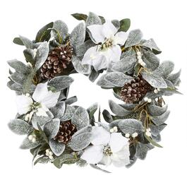 "22"" White Poinsettias Frosted Wreath"