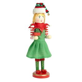 "15"" Girl Elf Nutcracker with Gifts"