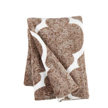 "Baby Breeze 50""x70"" Tan Amanda Floral Plush Throw Blanket"