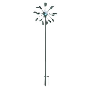 "47"" Crackled Glass LED Solar Wind Spinner Stake"