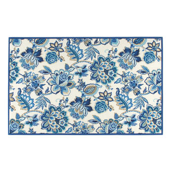 Waverly® Blue Floral Print All-Weather Area Rug view 1
