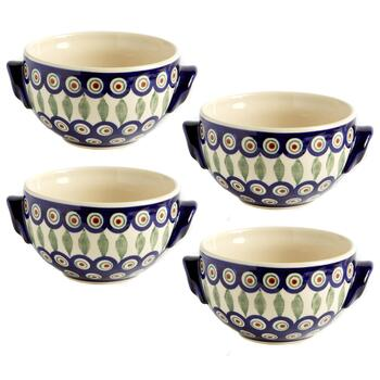 Painted Peacock Handmade Soup Bowls, Set of 4
