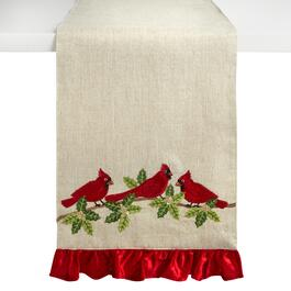"72"" Holly Cardinals Embellished Table Runner"